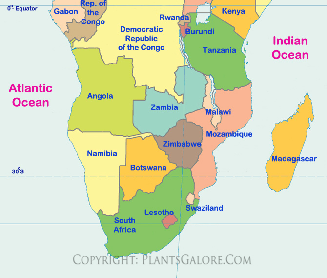 Types Map of Southern Africa Ornamental Plant Information from
