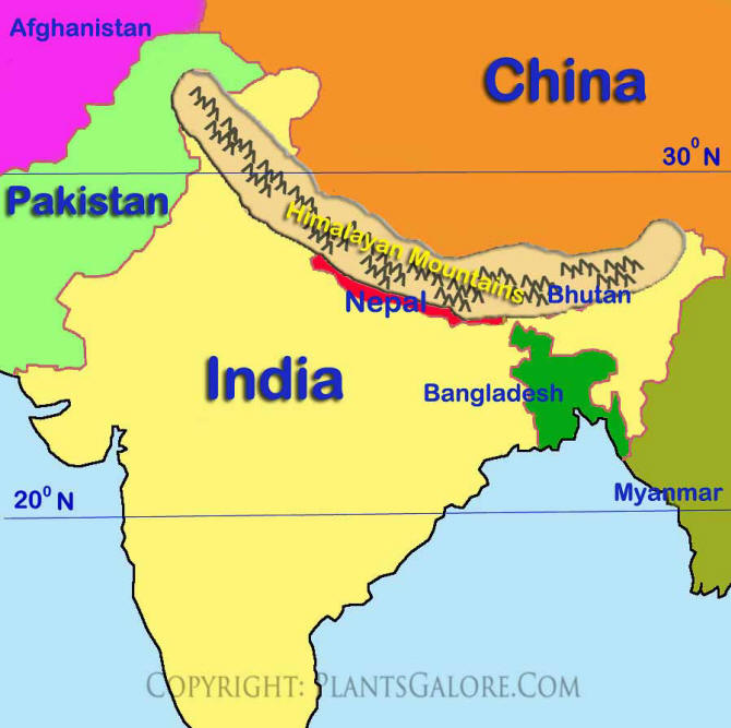 Map Of Asia Mountains.Types Map Of Himalayan Mountains Ornamental Plant Information