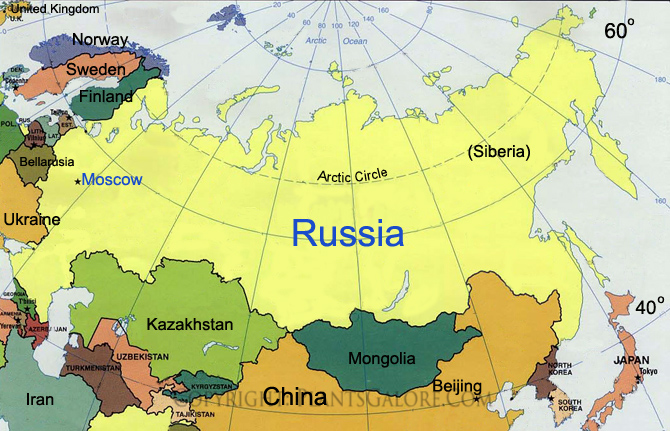 Types Map of Russia and Northern Asia Ornamental Plant