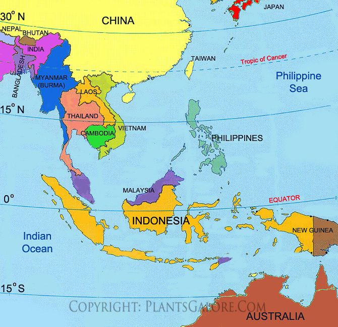 Types: Map of Southeast Asia - Ornamental Plant Information from ...