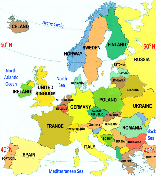 Types Map Of Europe Ornamental Plant Information From - Map of arctic circle