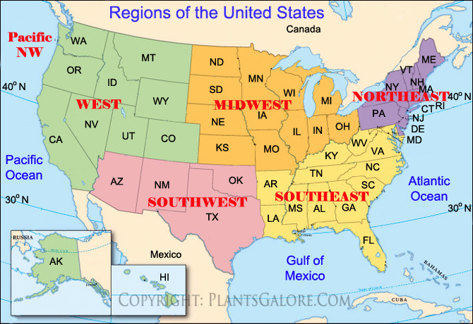 Types: Map of United States Regions   Ornamental Plant Information
